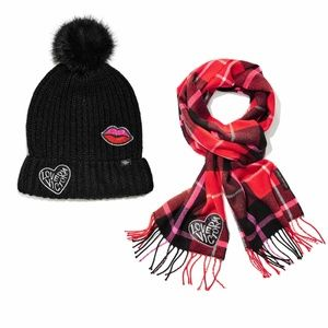 Winter Angel Red Victoria Plaid Scarf and Patch Ha